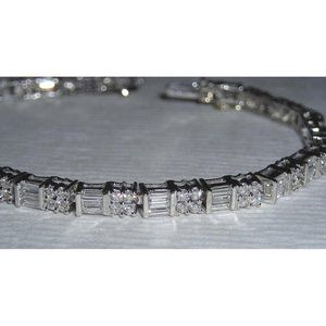 4 carats diamond tennis bracelet white gold baguet